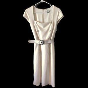 White House Black Market Cream Belted Dress